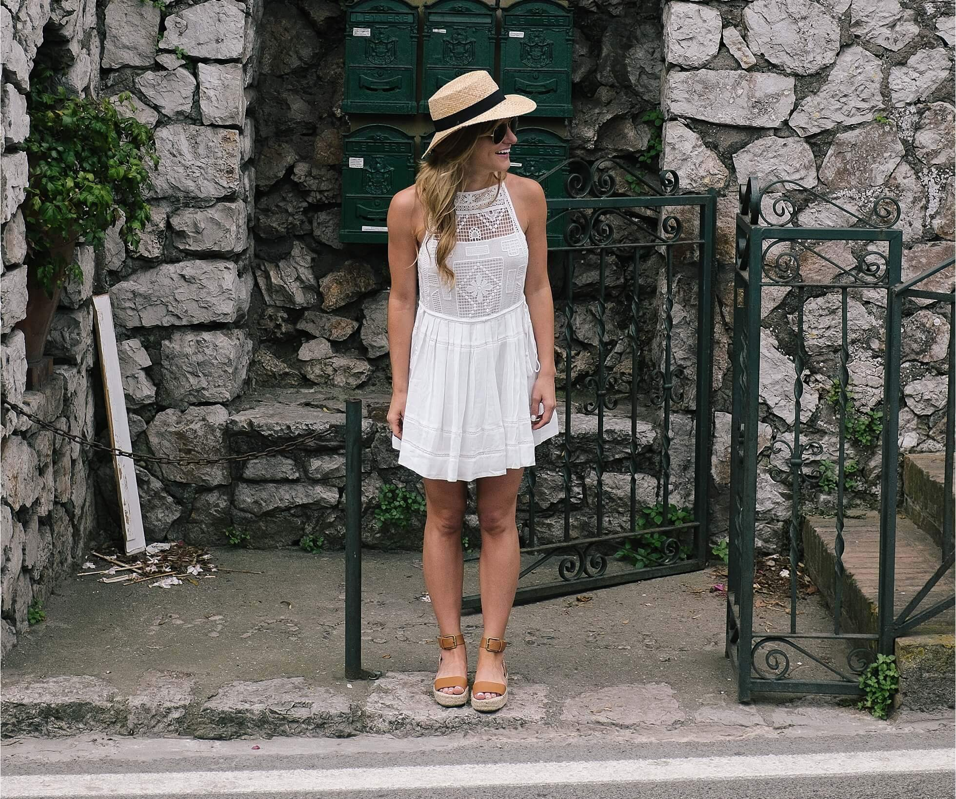 what to wear in italy in june simple little sundress and flats with a sunhat