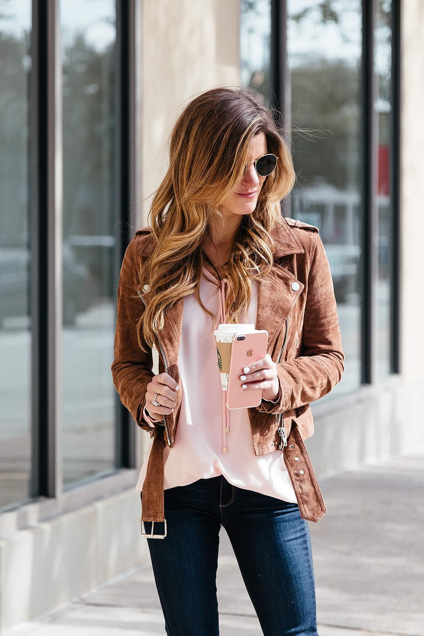blush pink surplice top, blank NYC suede moto biker jacket, paige jeans, how to have a happy valentines day