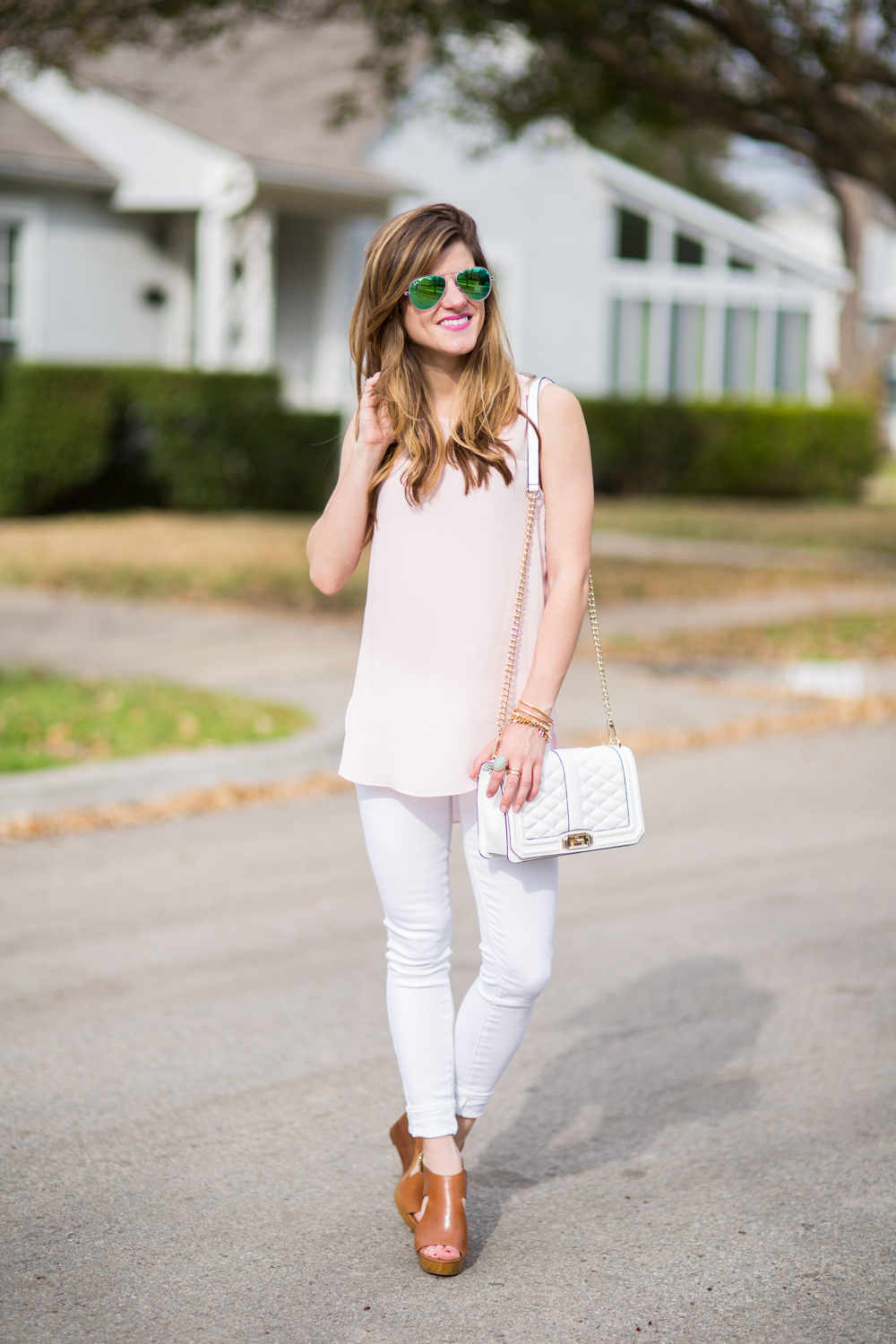 white skinny jeans, pastel blush pink shirt, rebecca minkoff love quilted bag, michael kors Josephine wedgtes